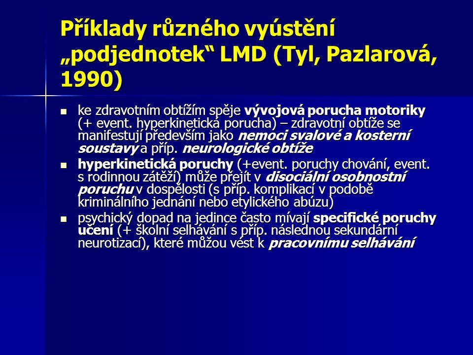 """Příklady různého vyústění """"podjednotek LMD (Tyl, Pazlarová, 1990)"""