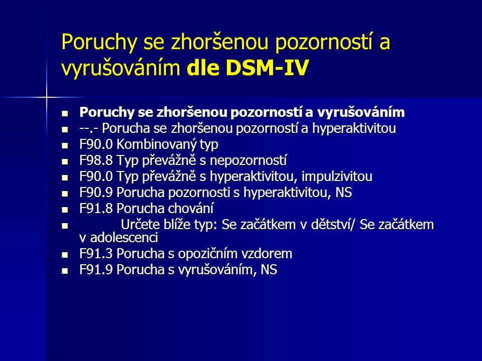 Poruchy se zhoršenou pozorností a vyrušováním dle DSM-IV