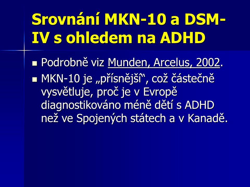 Srovnání MKN-10 a DSM-IV s ohledem na ADHD