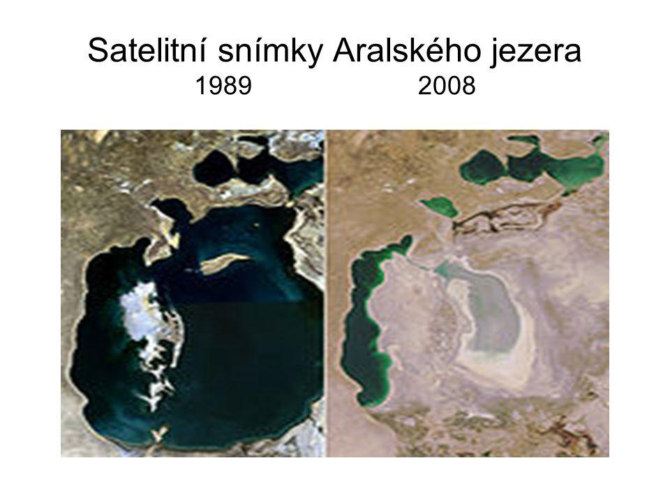 Satelitní snímky Aralského jezera 1989 2008
