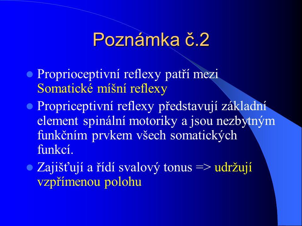 Poznámka č.2 Proprioceptivní reflexy patří mezi Somatické míšní reflexy.