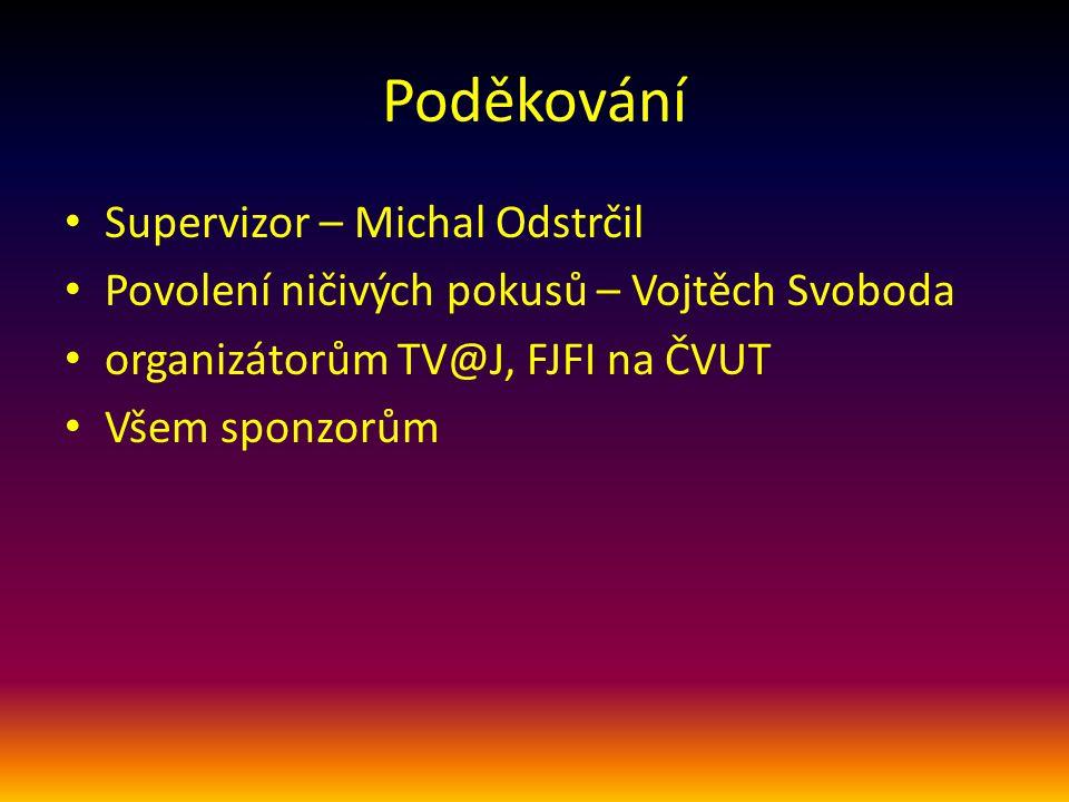 Poděkování Supervizor – Michal Odstrčil