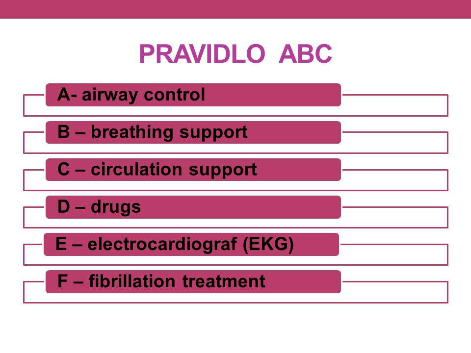 PRAVIDLO ABC A- airway control B – breathing support