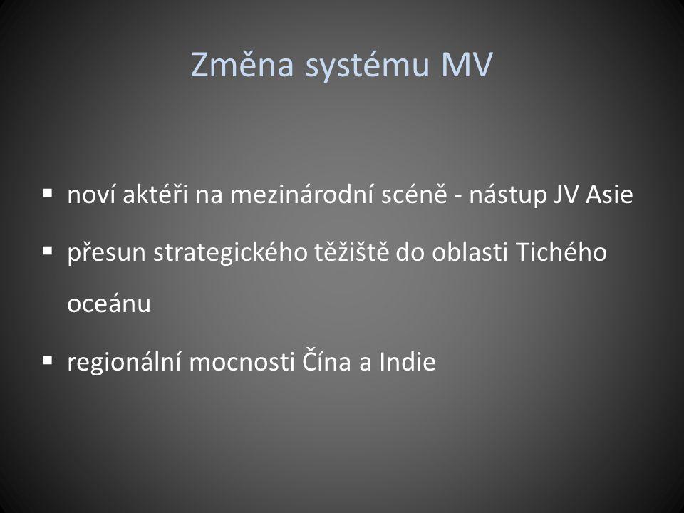 Změna systému MV noví aktéři na mezinárodní scéně - nástup JV Asie
