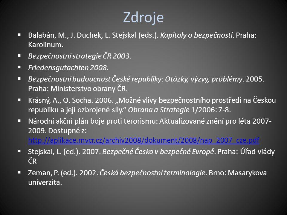 Zdroje Balabán, M., J. Duchek, L. Stejskal (eds.). Kapitoly o bezpečnosti. Praha: Karolinum. Bezpečnostní strategie ČR 2003.