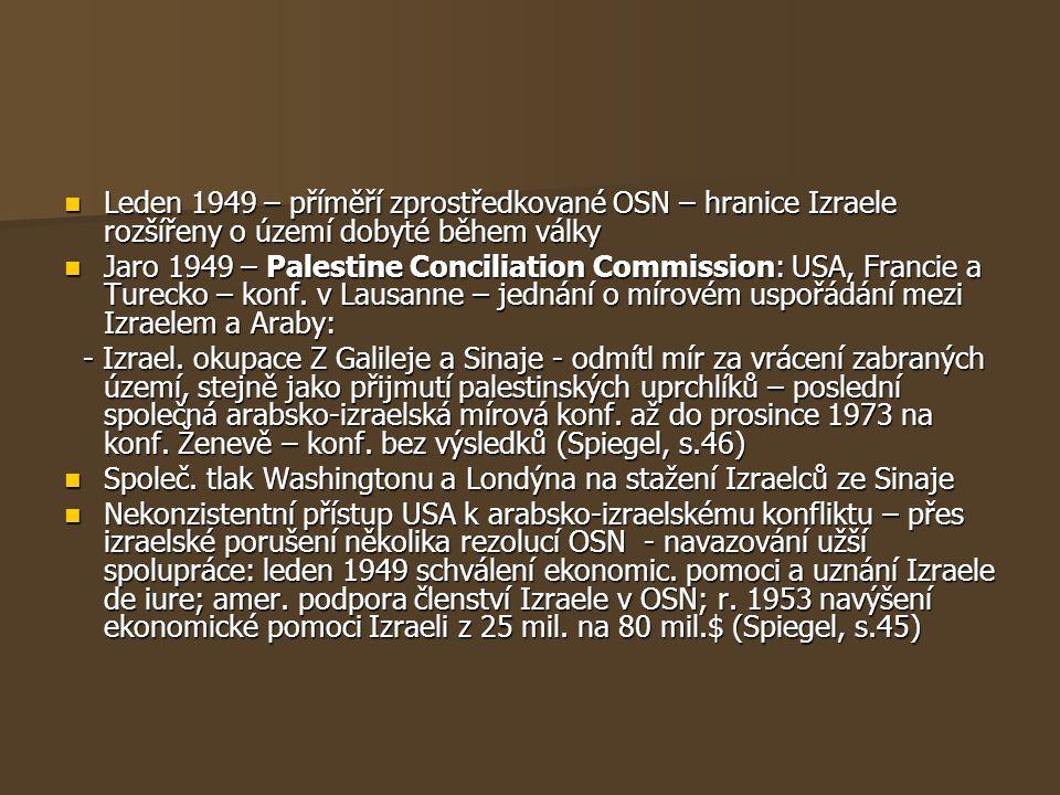 Leden 1949 – příměří zprostředkované OSN – hranice Izraele rozšířeny o území dobyté během války