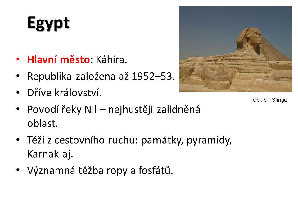 Egypt Hlavní město: Káhira. Republika založena až 1952–53.