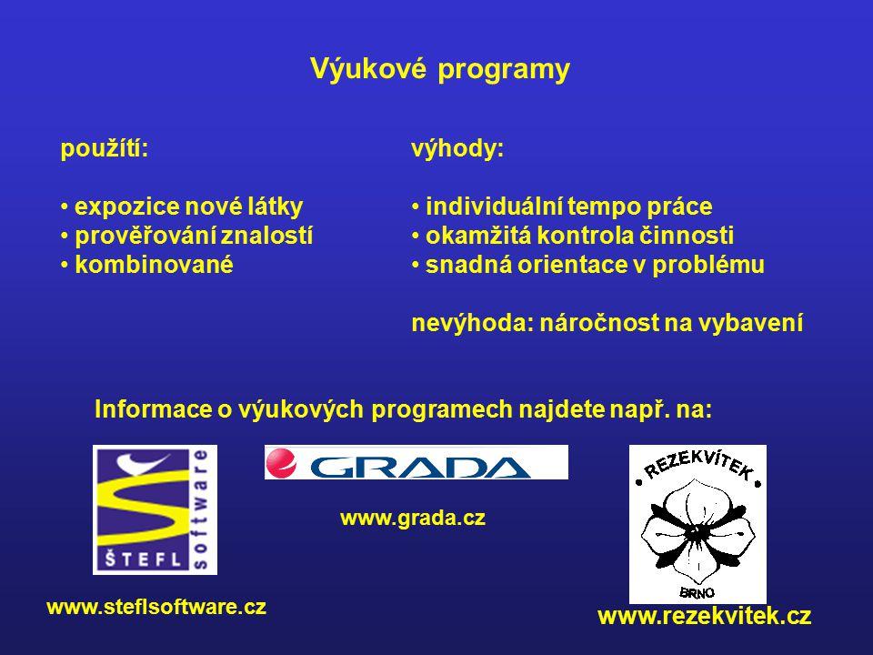 Výukové programy použítí: expozice nové látky prověřování znalostí