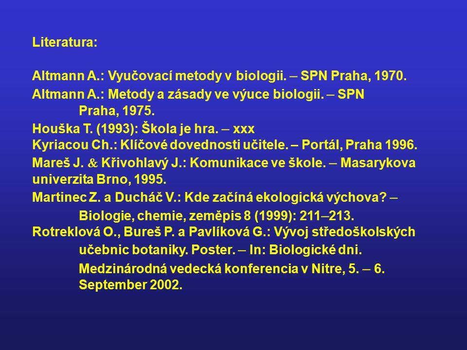 Literatura: Altmann A.: Vyučovací metody v biologii. – SPN Praha, 1970. Altmann A.: Metody a zásady ve výuce biologii. – SPN Praha, 1975.