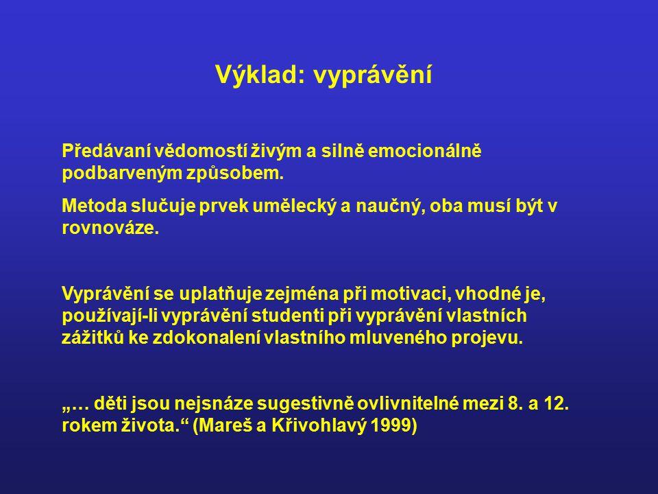 Výklad: vyprávění Předávaní vědomostí živým a silně emocionálně podbarveným způsobem.