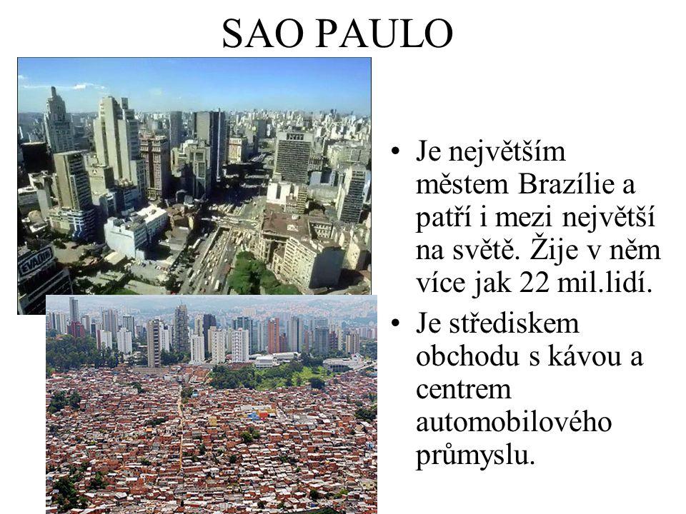 SAO PAULO Je největším městem Brazílie a patří i mezi největší na světě. Žije v něm více jak 22 mil.lidí.