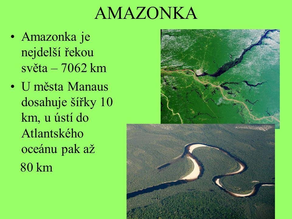 AMAZONKA Amazonka je nejdelší řekou světa – 7062 km