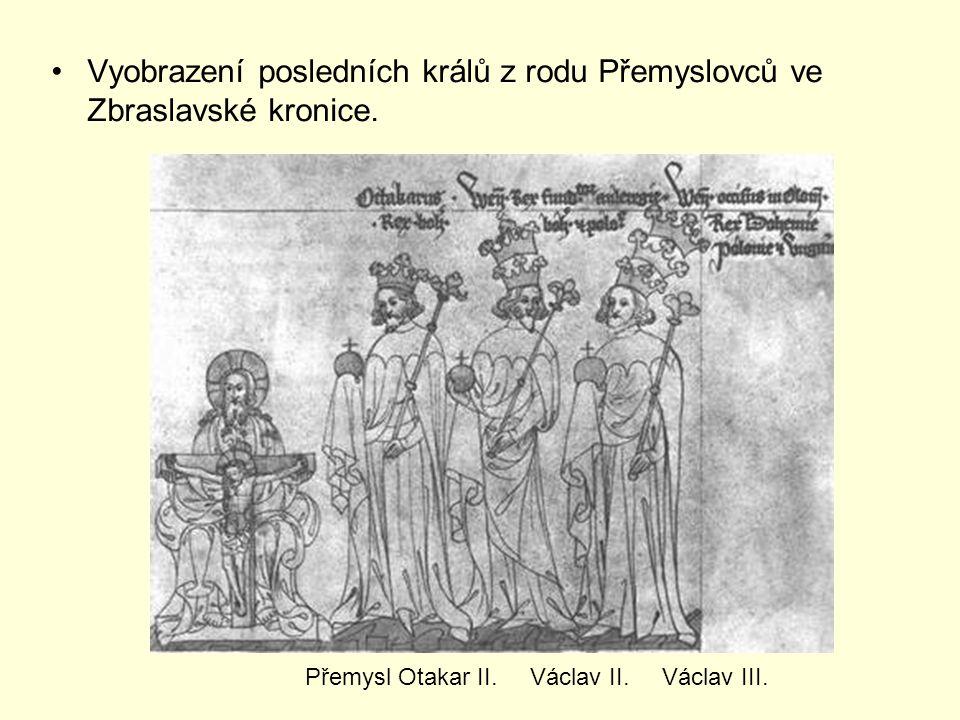 Vyobrazení posledních králů z rodu Přemyslovců ve Zbraslavské kronice.