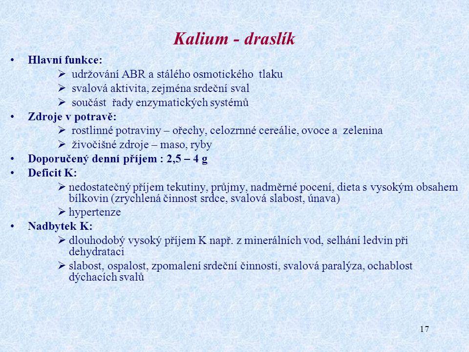 Kalium - draslík Hlavní funkce: