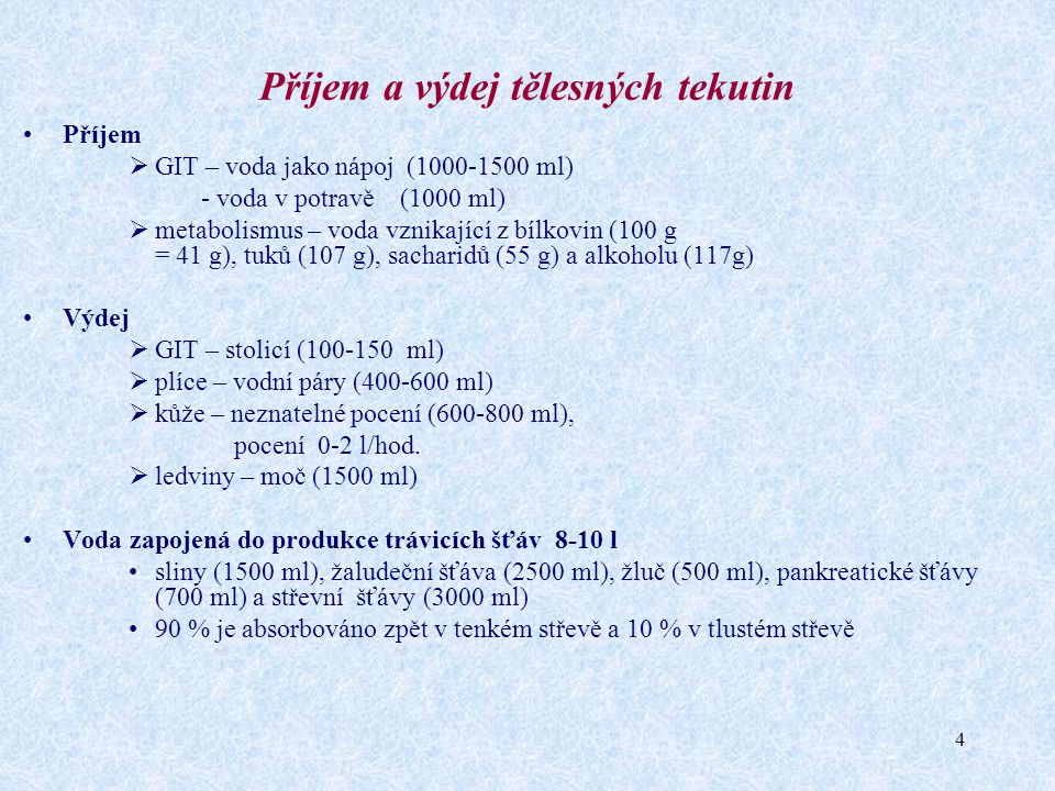 Příjem a výdej tělesných tekutin