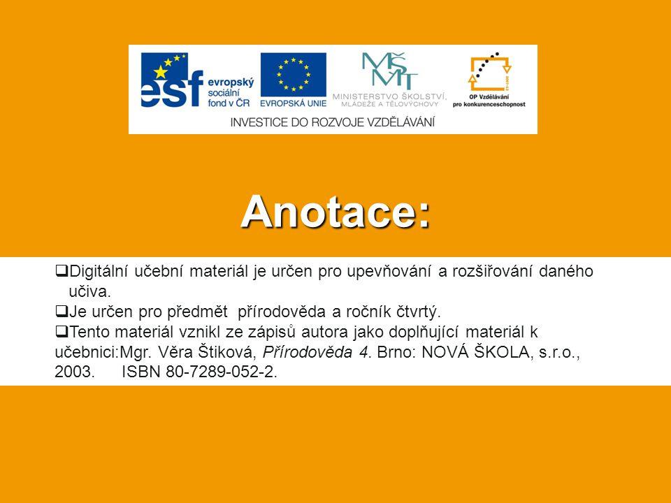Anotace: Digitální učební materiál je určen pro upevňování a rozšiřování daného. učiva. Je určen pro předmět přírodověda a ročník čtvrtý.