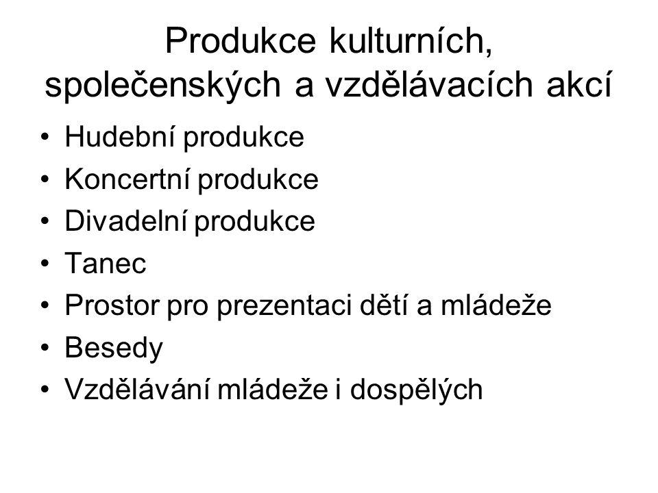 Produkce kulturních, společenských a vzdělávacích akcí
