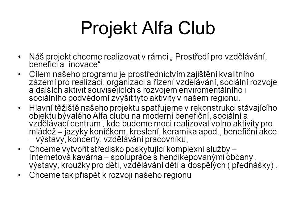 """Projekt Alfa Club Náš projekt chceme realizovat v rámci """" Prostředí pro vzdělávání, benefici a inovace"""