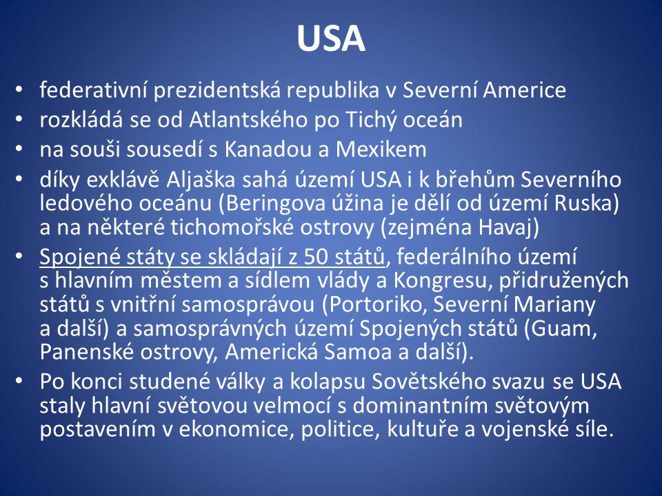 USA federativní prezidentská republika v Severní Americe