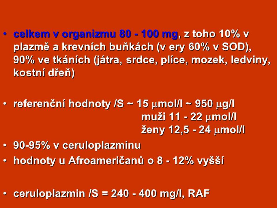 celkem v organizmu 80 - 100 mg, z toho 10% v plazmě a krevních buňkách (v ery 60% v SOD), 90% ve tkáních (játra, srdce, plíce, mozek, ledviny, kostní dřeň)