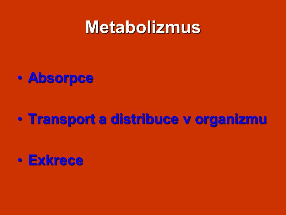 Metabolizmus Absorpce Transport a distribuce v organizmu Exkrece