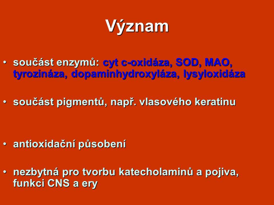 Význam součást enzymů: cyt c-oxidáza, SOD, MAO, tyrozináza, dopaminhydroxyláza, lysyloxidáza. součást pigmentů, např. vlasového keratinu.