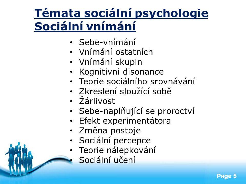 Témata sociální psychologie Sociální vnímání