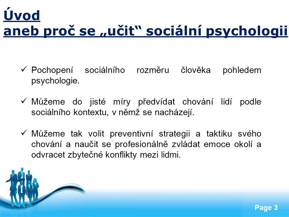 """aneb proč se """"učit sociální psychologii"""