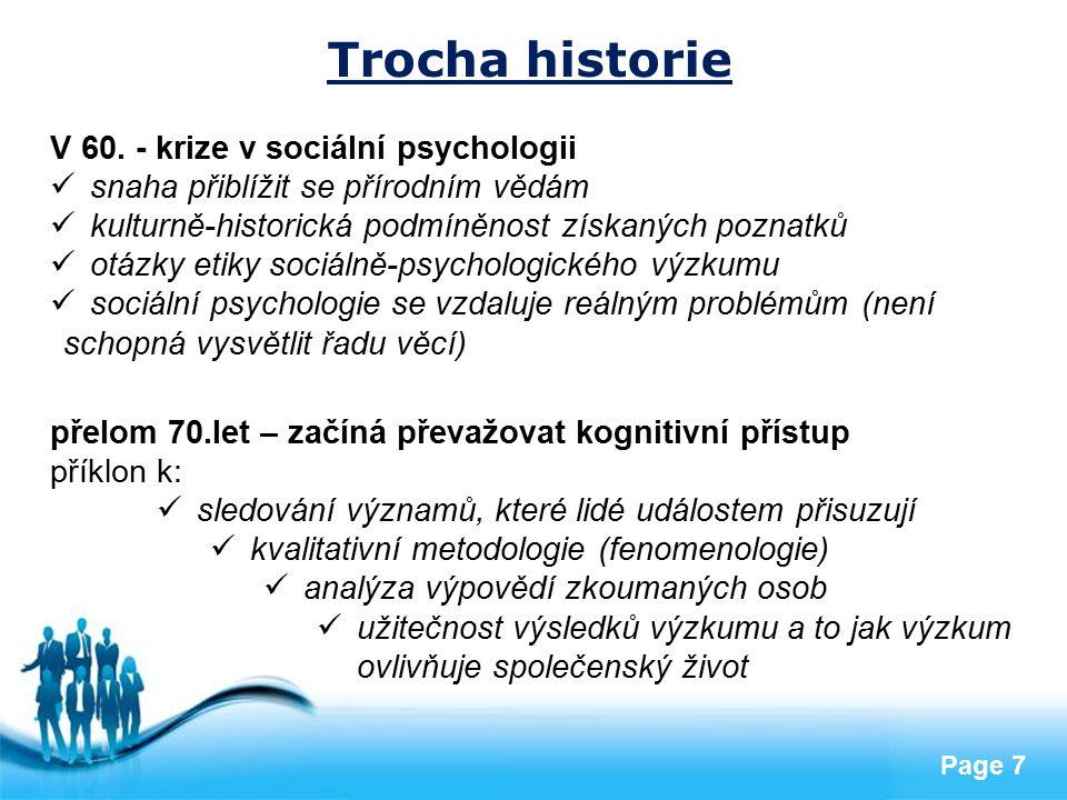 Trocha historie V 60. - krize v sociální psychologii