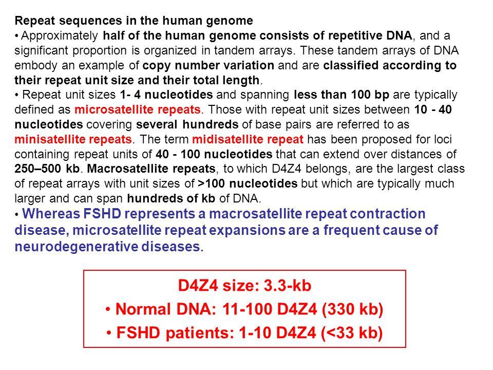 FSHD patients: 1-10 D4Z4 (<33 kb)