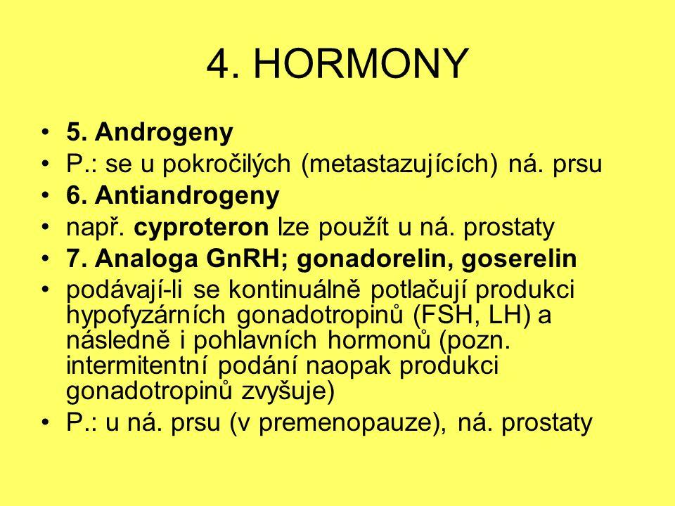 4. HORMONY 5. Androgeny. P.: se u pokročilých (metastazujících) ná. prsu. 6. Antiandrogeny. např. cyproteron lze použít u ná. prostaty.