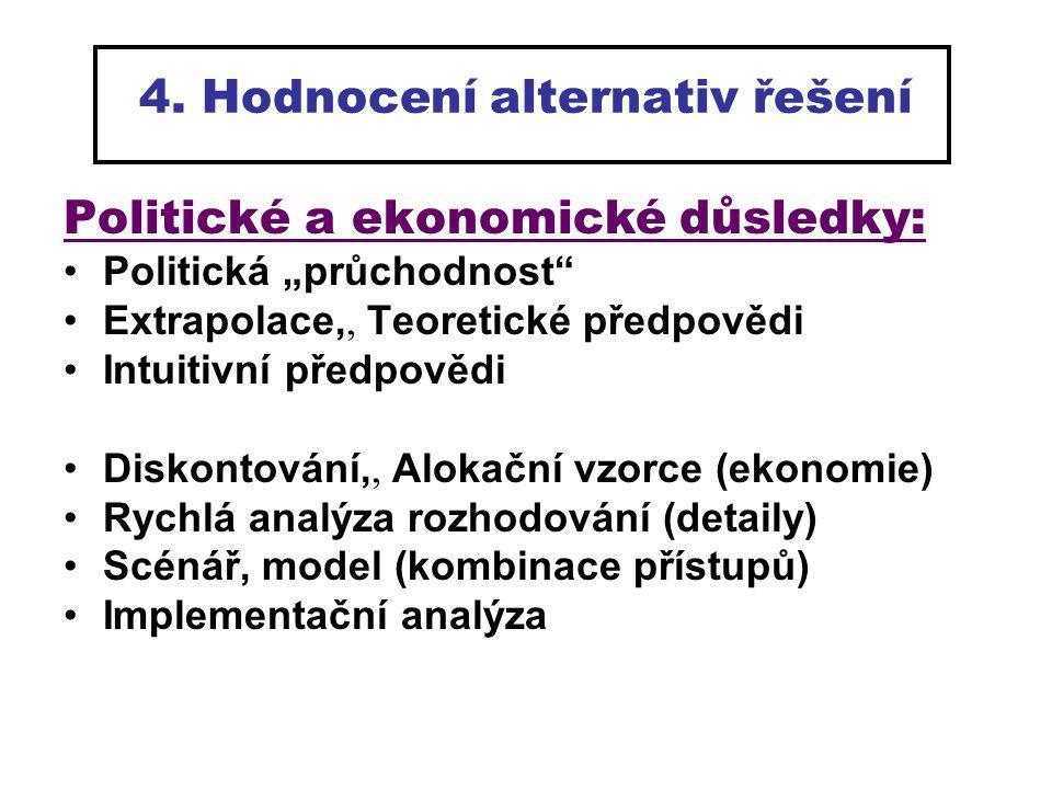4. Hodnocení alternativ řešení