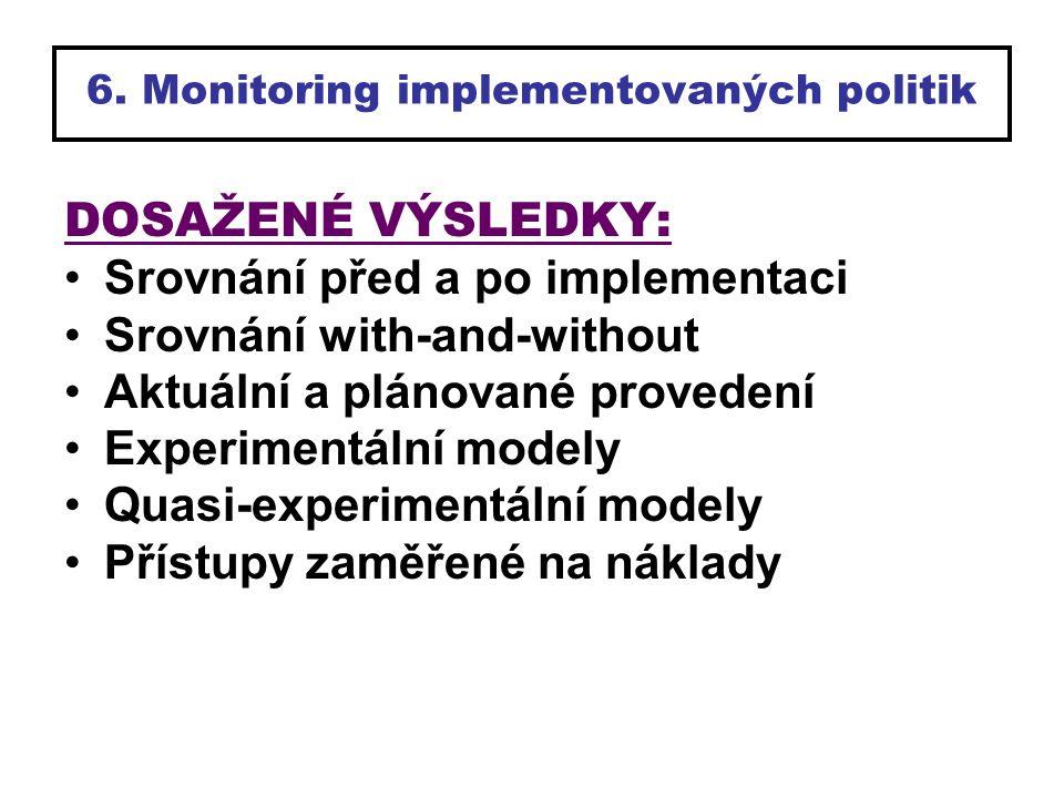 6. Monitoring implementovaných politik