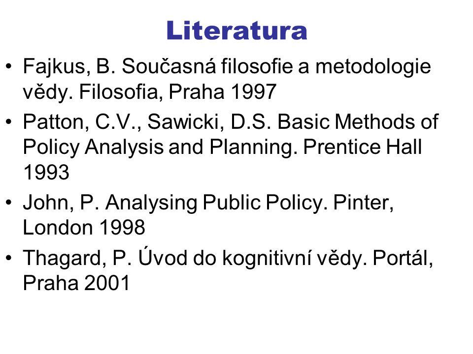 Literatura Fajkus, B. Současná filosofie a metodologie vědy. Filosofia, Praha 1997.