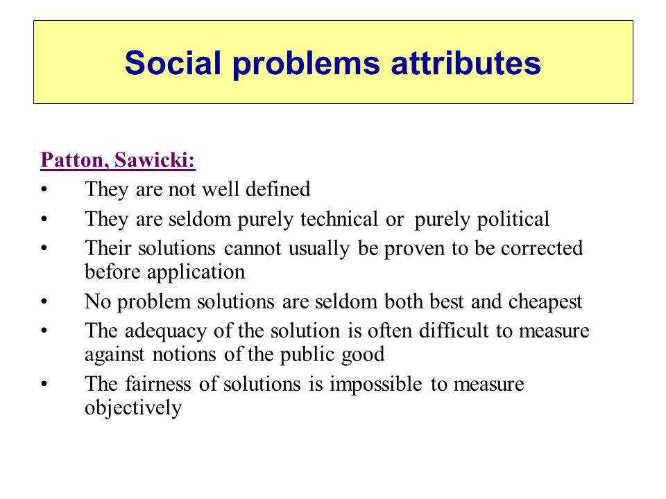 Social problems attributes