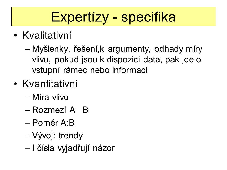 Expertízy - specifika Kvalitativní Kvantitativní