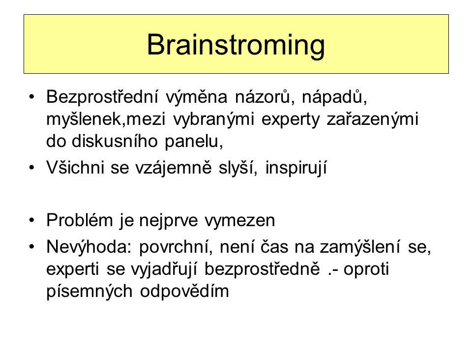 Brainstroming Bezprostřední výměna názorů, nápadů, myšlenek,mezi vybranými experty zařazenými do diskusního panelu,