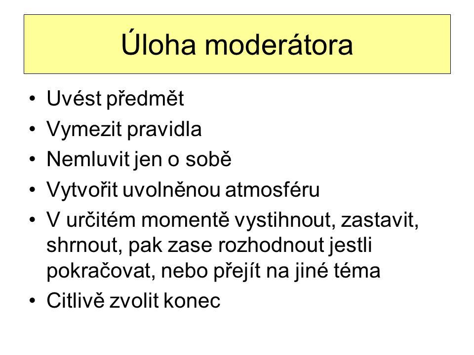 Úloha moderátora Uvést předmět Vymezit pravidla Nemluvit jen o sobě