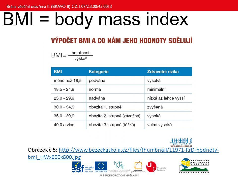 BMI = body mass index Obrázek č.5: http://www.bezeckaskola.cz/files/thumbnail/11971-RrD-hodnoty-bmi_HWx600x800.jpg.