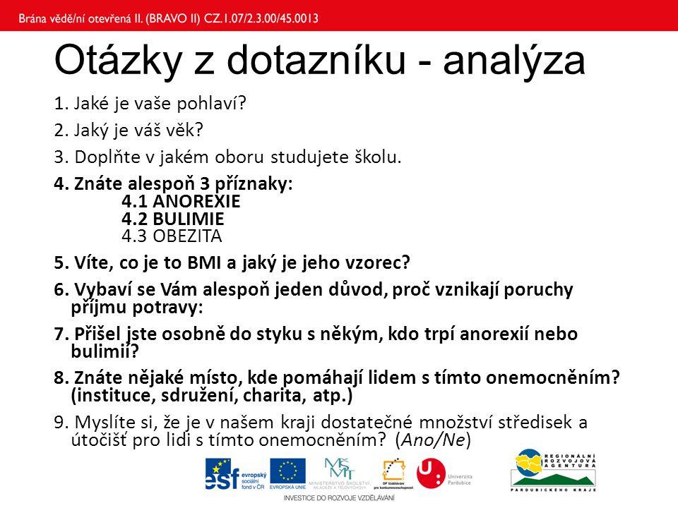 Otázky z dotazníku - analýza