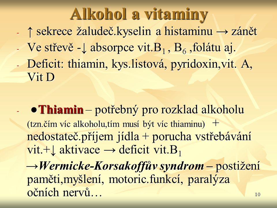 Alkohol a vitaminy ↑ sekrece žaludeč.kyselin a histaminu → zánět