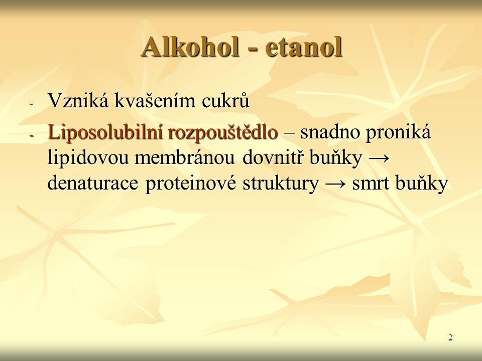 Alkohol - etanol Vzniká kvašením cukrů