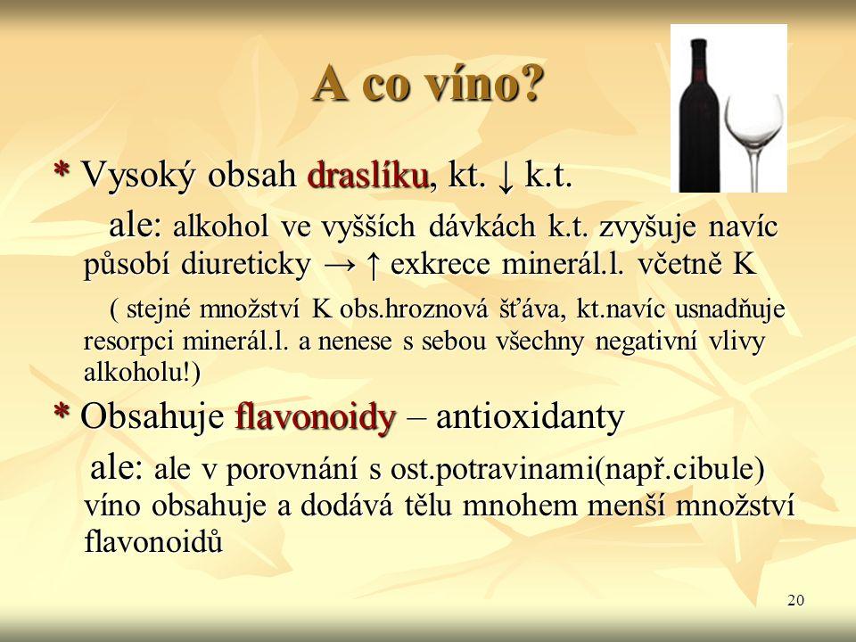 A co víno * Vysoký obsah draslíku, kt. ↓ k.t.