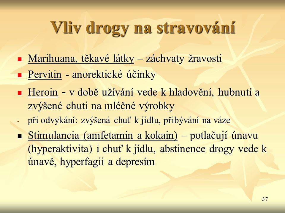 Vliv drogy na stravování