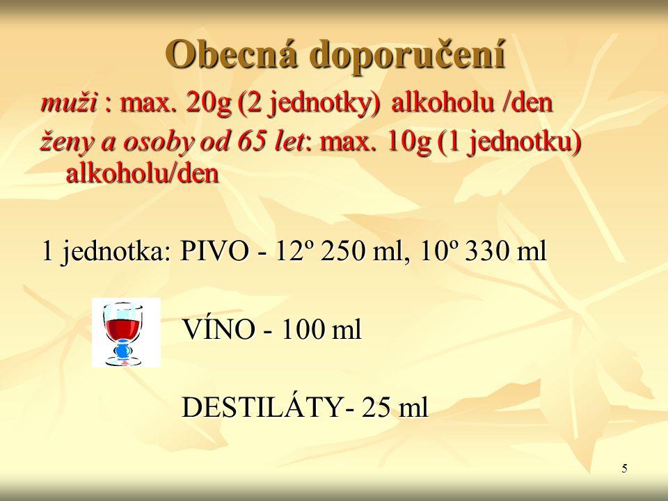 Obecná doporučení muži : max. 20g (2 jednotky) alkoholu /den