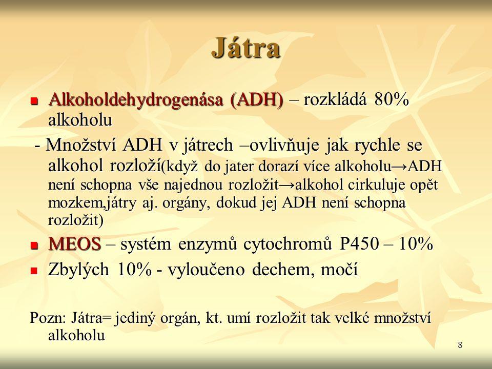 Játra Alkoholdehydrogenása (ADH) – rozkládá 80% alkoholu
