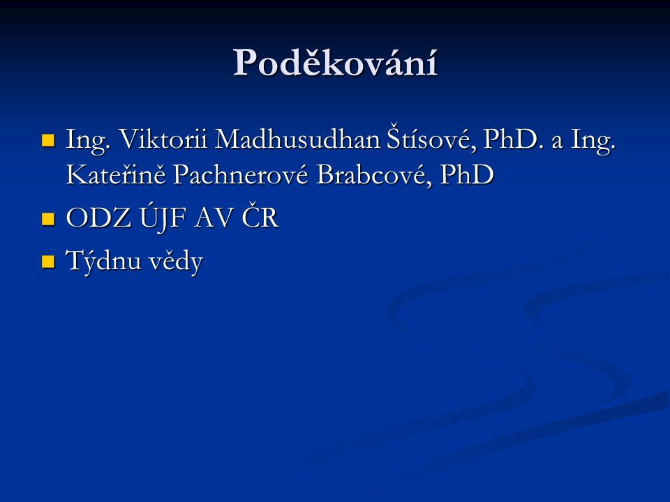 Poděkování Ing. Viktorii Madhusudhan Štísové, PhD. a Ing. Kateřině Pachnerové Brabcové, PhD. ODZ ÚJF AV ČR.