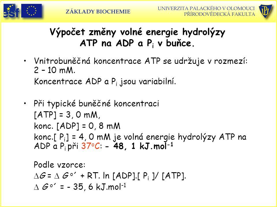 Výpočet změny volné energie hydrolýzy ATP na ADP a Pi v buňce.