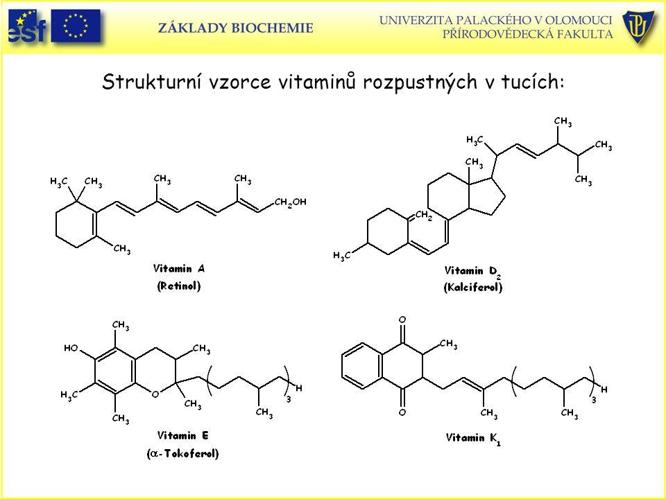 Strukturní vzorce vitaminů rozpustných v tucích: