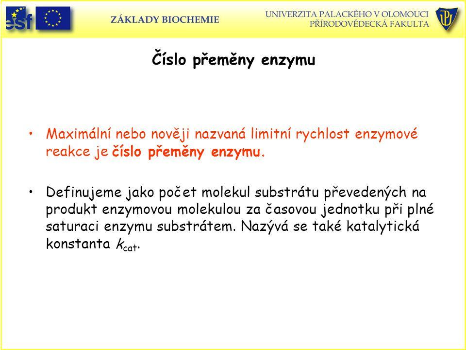 Číslo přeměny enzymu Maximální nebo nověji nazvaná limitní rychlost enzymové reakce je číslo přeměny enzymu.